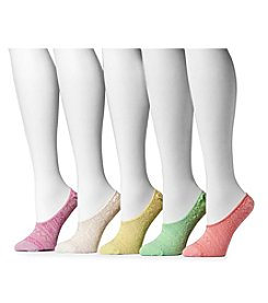 MUK LUKS Women's Microfiber Foot Liners 5-Pair Sock Pack