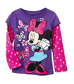 Nannette® Girls' Long Sleeve Minnie With Butterflies Tee *