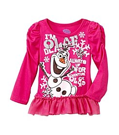 Nannette® Girls' 2T-6X Long Sleeve Olaf With Tulle Ruffle Top *