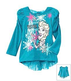 Nannette® Girls' 2T-6X Long Sleeve Elsa With Mesh Dot Ruffle Top *