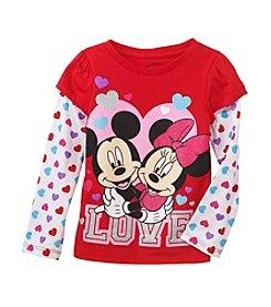 Nannette® Girls' Long Sleeve Mickey And Minnie Love Tee *