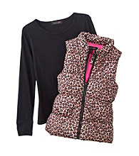 Grane® Girls' S-XL Cheetah Print Puffer Vest With Tee