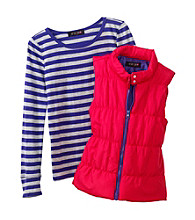 Grane® Girls' S-XL Long Sleeve Soild Puffer Vest With Striped Tee