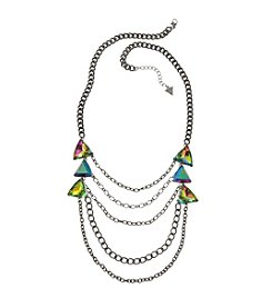 Guess Black Stone Multi-Row Necklace