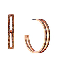 Vince Camuto™ Rose Goldtone Pave Double Hoop Earrings