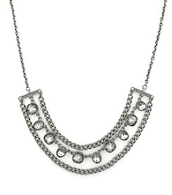 "Jessica Simpson Silvertone 16"" Stone Frontal Necklace"