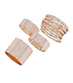 Steve Madden Rose Goldtone Ring Set