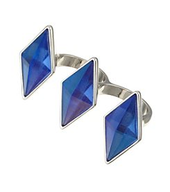 Guess Silvertone Two-Finger Blue Stone Ring