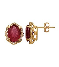 Lead Glass-Filled Ruby and .16 ct. t.w. Diamond Earrings in 10K Gold