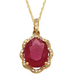 Lead Glass-Filled Ruby and 0.13 ct. t.w. Diamond Pendant Necklace in 10K Gold
