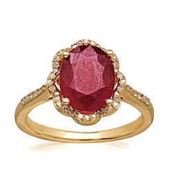 Lead Glass-Filled Ruby and 0.16 ct. t.w. Diamond Ring in 10K Gold