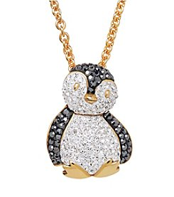 Impressions® Crystal Penguin Pendant in Sterling Silver