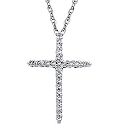 .10 ct. t.w. Diamond Cross Pendant in 10K White Gold