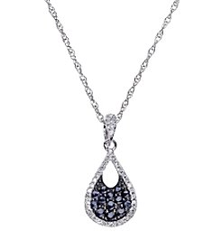 Sapphire and 0.11 ct. t.w. Diamond Pendant in 10K White Gold