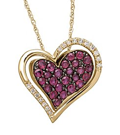 Lead Glass-Filled Ruby and 0.10 ct. t.w. Diamond Heart Pendant Necklace in 10K Rose Gold