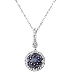 Sapphire and 0.20 ct. t.w. Diamond Pendant Necklace in 10K White Gold