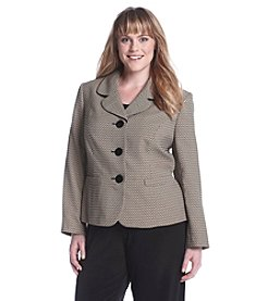 LeSuit® Plus Size Basket Weave Printed Jacket