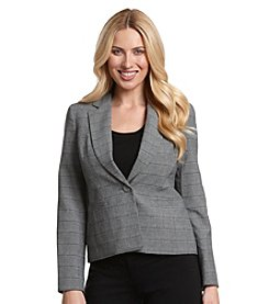 LeSuit® One Button Plaid Peak Lapel Jacket