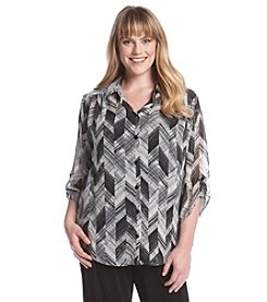 AGB® Plus Size Print Woven Blouse