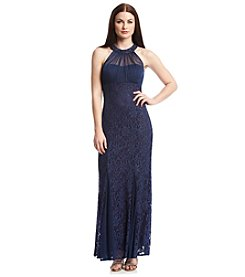 NW Collections Illusion Neckline Lace Sparkle Dress