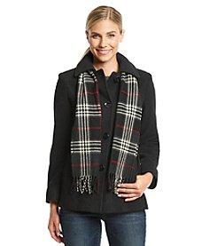 London Fog Short Single Breasted Club Collar Scarfcoat