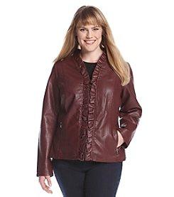 Giacca Plus Size Ruffle Front Scuba Jacket