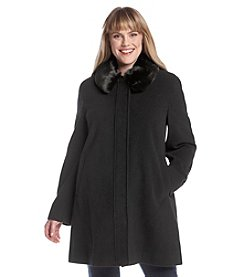 Jones New York® Plus Size Pantcoat with Faux Fur Club Collar