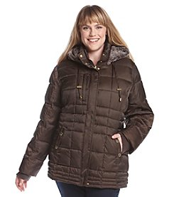 Nautica® Plus Size Short Down with Faux Rabbit Lined Hood