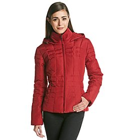 Calvin Klein Red Petite Untrim Hooded with Horizontal Seaming Coat
