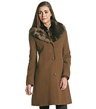 Jones New York® Petites' Faux Fur Shawl Collar Walker Jacket