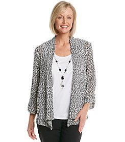 Alfred Dunner® Play On Color Popcorn Stitch Layered Look Sweater