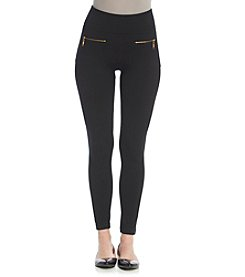 One 5 One® Goldtone Zipper Leggings