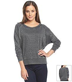 DKNY JEANS® Knit Rhinestone Pullover Sweatshirt