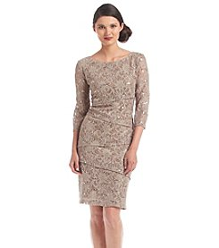 Ronni Nicole® Elbow Sleeve Sequin Lace Tier Dress