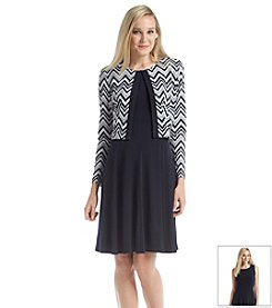 Jessica Howard® Petites' Long Sleeve Sequin Print Jacket Solid Dress