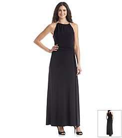 Nine West® Sleeveless Necklace Halter Ruch Waist Long Dress