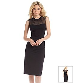 London Times® Cap Sleeve Illusion Neck Lined Dress