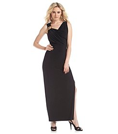 Nine West® Sleeveless Scoopneck Side Slit Long Gown