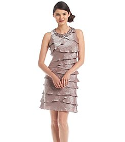 S.L. Fashions Sleeveless Shimmer Bead Neck Tiered Dress