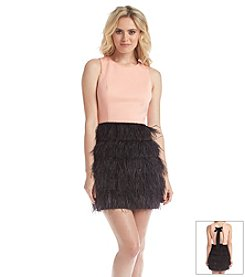 Maia Feather Skirt Scuba Dress