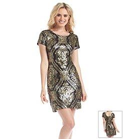Maia Cap Sleeve Metallic Sheath Dress