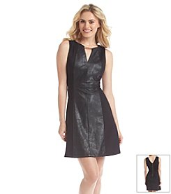 Vince Camuto® Faux Leather A-Line Dress