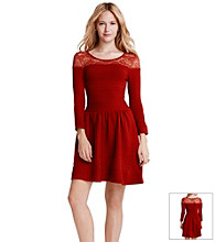 Jessica Simpson Opera Sweater Dress With Lace Shoulders