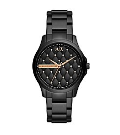 A|X Armani Exchange Black IP Watch with Rose Goldtone Accents