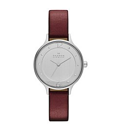 Skagen Denmark Women's Anita Watch in Silvertone with Red Metallic Leather Strap
