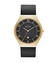 Skagen Denmark Men's Grenen Watch in Goldtone with Genuine Black Leather Strap and Black Dial