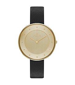 Skagen Denmark Women's Gitte Watch in Goldtone with Black Leather Strap