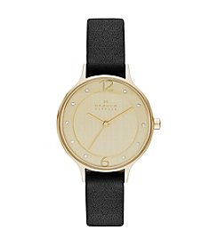 Skagen Denmark Women's Anita Watch in Goldtone with Black Leather Strap