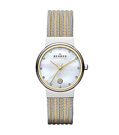 Skagen Denmark Women's Ancher Watch with Silvertone Case and Two-Tone Stainless Steel Mesh