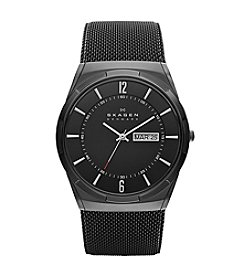 Skagen Denmark Men's Melbye Watch with Black Titanium Case with Black Stainless Steel Mesh